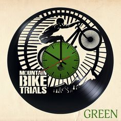 Mountain Bike Vinyl Wall Clock - Get unique bedroom wall decor - Gift ideas for men and women, boys and girls – Moto Sport Unique Art Design - Leave us a feedback and win your custom clock: Home & Kitchen