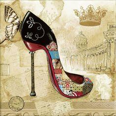 Fashion Painting, Fashion Art, Fashion Shoes, Stilettos, High Heels, Decoupage Vintage, Decoupage Paper, Vintage Images, Vintage Art