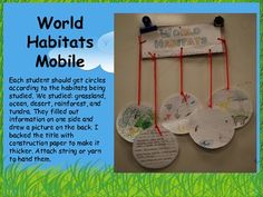 World Habitats Mobile. Use while studying animals, plants, and habitats. Science Resources, Science Lessons, Science Activities, Science Projects, School Projects, Science Ideas, Steam Activities, Educational Activities, Science Experiments