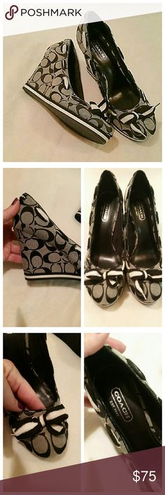 """Coach """"Tena"""" black wedge shoes Brand new without the box. Bow in the front. Coach Shoes Wedges"""