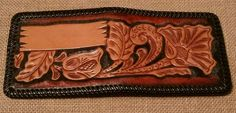 Vintage Tooled Leather Bi Fold Wallet - BLANK SPOT FOR NAME - Estate #Unbranded #Bifold