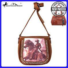 MW154G-8360 Montana West Horse Art Concealed Handgun Handbag-Laurie Prindle Collection-Brown - Satchels (*Amazon Partner-Link)