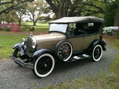 Oak Alley has two antique Ford Model A cars on display.  Here, one was rolled out onto the pathway for taping of a TV show to air in June!