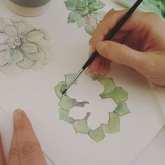 Had the best day painting succulents! Process clip of how I did this 😊 . Watercolour Tutorials, Watercolor Techniques, Watercolour Painting, Watercolor Flowers, Watercolors, Zentangle, Art Plastique, Botanical Art, Watercolor Illustration