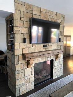 Reclaimed Barn Wood Rough Sawn Corbels wall decor wall Fireplace Tv Wall, Farmhouse Fireplace, Fireplace Remodel, Fireplace Design, Fireplace Mantels, Fireplaces, Fireplace Ideas, Mantles, American Barn