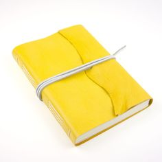 SHIPS NOW Leather Sketchbook / Journal in Yellow & White with natural raw edge