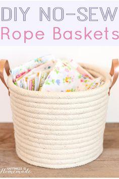 DIY No Sew Rope Baskets