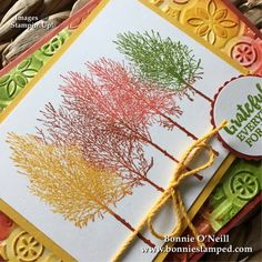 Trees using dobbers Cajun, calypso,granny, yellow Winter Cards, Holiday Cards, Autumn Cards, Diy Thanksgiving Cards, Vegan Thanksgiving, Winter Karten, Stamping Up Cards, Creative Cards, Flower Cards