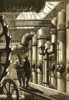 The Engines of The Nautilus, from Jules Verne's Leagues Under the Sea', illustrated by: Alphonse de Neuville and Édouard Riou This image was originally featured in the Hetzel edition. Jules Verne, Nautilus, Chernobyl, Verbena, Illustration Française, Leagues Under The Sea, Neo Victorian, Retro Futurism, Steampunk Fashion
