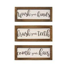 Set of 3 Linen Bathroom Rules Framed Wood Wall Decor Brown