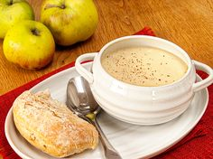 Celeriac and Bramley Apple Soup - This tasty soup has high fibre content essential for gut health and is rich in minerals and vitamin K, which is essential for bone health.