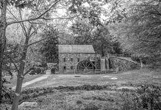 Black and White photo of the gristmill at Longfellow's Wayside Inn, Sudbury Massachusetts.