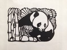 Traditional Chinese paper cut design Panda the bamboo bear