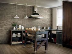 add stunning style to your home, indoors or out with our fabulous new collection of 6 different Porcelain Brick Tiles! Unlike natural Brick Tiles, porcelain Kitchen Wall Design, Grey Kitchen Walls, Stone Wall Design, Grey Kitchens, Stone Kitchen, Rustic Kitchen, Kitchen Decor, Kitchen Ideas, Small Kitchens