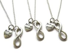 This listing is for 3 best friend infinity necklaces. The infinity charm measures 24 x 8 mm and the best friend charm measures 13 x 10 mm and comes on 18 inch 925 silver plated chains. Each necklace comes in its own gift box. Check out other best friend jewelry available here