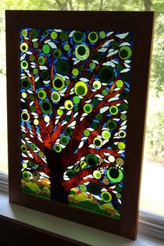 Stained Glass Mosaic on Glass Nature's Peacock by WonderMeMosaics Glass Wall Art, Sea Glass Art, Stained Glass Art, Mosaic Art, Mosaic Glass, Mosaic Windows, Mn Artists, Abstract Nature, Art Nature