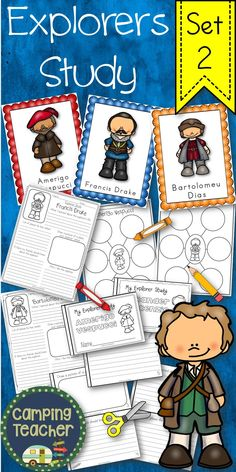Your students will enjoy learning and studying their favorite explorers. This is a great addition to your Social Studies curriculum and to integrate language arts as well. Includes the following male explorers: Amerigo Vespucci Francis Drake Bartolomeu Dias George Vancouver Hernando de Soto Jacques Marquette James Cook Alexander MacKenzie Panfilo de Narvaez Walter Raleigh Robert de La Salle Samuel de Champlain Simon Fraser