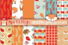 """Woodland Animals Seamless Digital Papers-Forest Animals Digital Scrapbook Paper-Owl-Fox -Hedgehog. Suitable for Personal or Commercial Use This paperset includes: 1x Zip File containing 12 papersin high quality 300dpi JPG Files. Size 12"""" x 12"""" inches. **Affiliate Link**"""