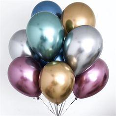 11pcs Metal Balloons Bouquet Double Balloon Chrome-like Birthday Wedding Party  | eBay