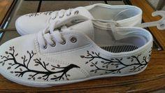 White tree sneakers Womens size 8 canvas shoe custom by Elvarinya, $25.00