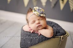 Reese grey and yellow Delia style flower and by babybirdieboutique
