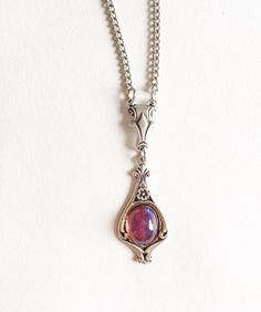 Silver Fire Opal Necklace, Silver Necklace, dragons breath opal, medieval necklace, medieval jewelry, Tudor necklace, Victorian necklace by PrettyRedKitty on Etsy https://www.etsy.com/ca/listing/522401601/silver-fire-opal-necklace-silver