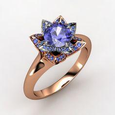 Round Tanzanite 14K Rose Gold Ring with Blue Sapphire & Blue Sapphire  - lotus