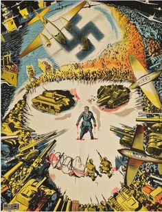 vintage Yugoslav world war ii propaganda poster, This poster depicts nazi's with skulls and lots of warfare Vintage Advertisements, Vintage Ads, Vintage Posters, Les Aliens, Ww2 Propaganda Posters, Poster Ads, Illustrations And Posters, World War Ii, Wwii