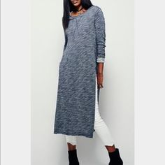 Free People To the Max Top Boho Chic Bohemian long knit charcoal pullover top with side slits to waistline raw edges,long sleeves, scooped neckline. Armpit to armpit 20 inches. Runs big in size. Free People Tops Tunics