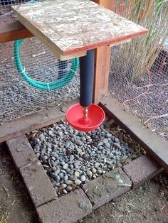 make a nice large pebble area underneath the waterer to keep from area getting muddy