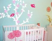 Nursery Tree Decal with Flowers and Birds - Vinyl Wall Decal 1111