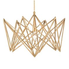 - Overview - Details - Why We Love It - This brilliant chandelier has a wild and contemporary frame and is finished in stunning Annatto Gold Leaf. The Forum Chandelier is compelling and attractive. No