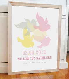 Flying Birds Print personalized baby print by AlmostSundayInc Art Wall Kids, Nursery Wall Art, Baby Posters, Baby Prints, Little Princess, Flying Birds, Personalized Baby, Birds In Flight, Birth