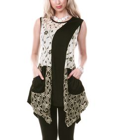 Look what I found on #zulily! Beige & Black Abstract Floral Sleeveless Sidetail Tunic by Lily #zulilyfinds