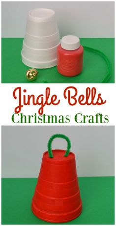 Styrofoam cup jingle bell Christmas craft and ornament for kids using supplies from the dollar store.