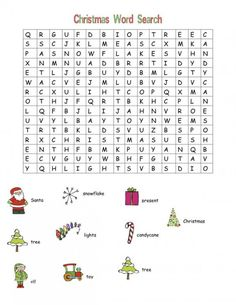 free Christmas printable fun games children word search crafty