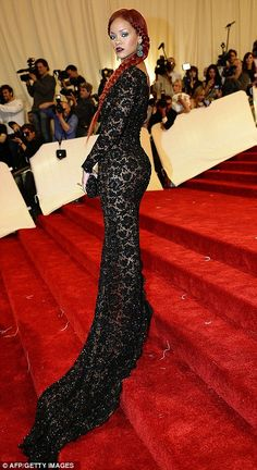 Dramatic: Rihanna shows off her lace Stella McCartney gown at the 'Alexander McQueen: Savage Beauty' Costume Institute Gala at The Metropolitan Museum of Art