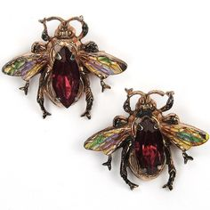 Coro Sterling Gold Ruby and Enamel Pair of Miniature Bees or Bugs Scatter Pins