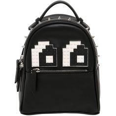 Les Petits Joueurs Women Micro Mic Eyes Leather Backpack (1155 LYD) ❤ liked on Polyvore featuring bags, backpacks, black, convertible backpack, convertible bags shoulder bag backpack, shoulder strap backpack, day pack backpack and spike backpack