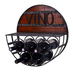 WELLAND Half Round Wood  Metal Wine Hanging Rack Holds 5 Wine Bottles ** To view further for this item, visit the image link. (This is an affiliate link)