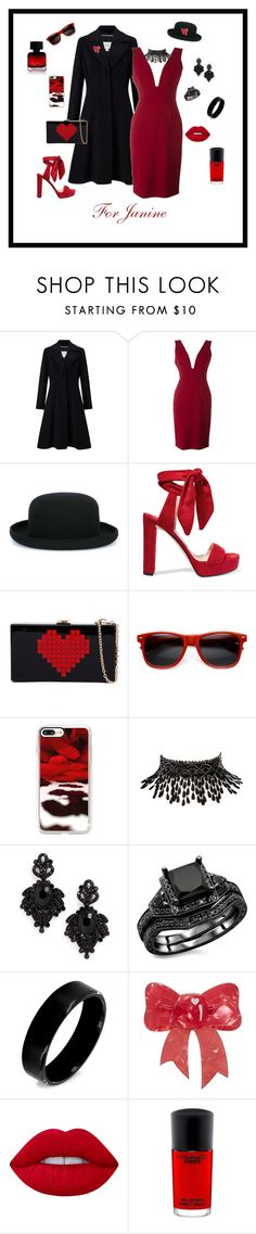 """For Janine ♡"" by michelechambers ❤ liked on Polyvore featuring John Lewis, Alice + Olivia, Comme des Garçons, Jimmy Choo, ZeroUV, Casetify, Amrita Singh, Tasha, West Coast Jewelry and Lime Crime"