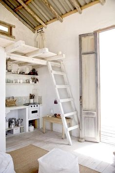 I like the ladder idea for storage in kitchen, above window - makeshift loft