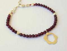 Abstract Rose Charm With Garnet Bracelet by meltemsem on Etsy, $30.00
