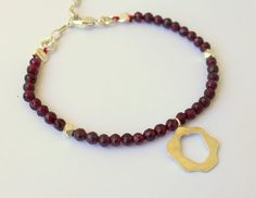 Abstract Rose Charm With Garnet Bracelet by meltemsem on Etsy, $30.00