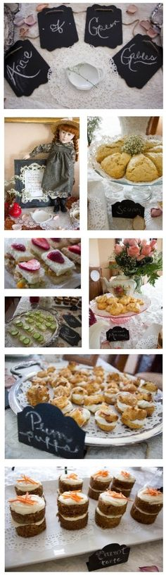 Anne of Green Gables tea party. Super cute. Recipes linked.