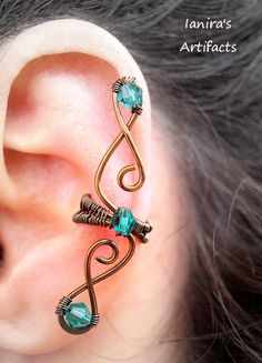 Elf ear cuff gunmetal and turquoise wire wrapped by Ianira on Etsy, €12.00