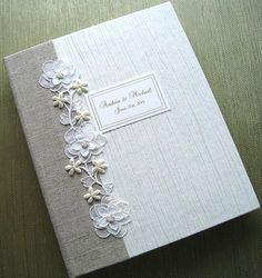 Personaliized Handmade Wedding Photo Album Natural by Daisyblu, $85.00