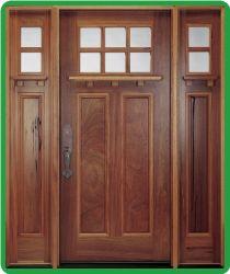 Rustic Walnut 2 Panel Craftsman Style Front Entry Door