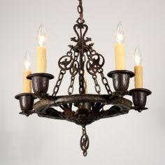 Sold Amazing Antique Five Light Figural Tudor Chandelier By Virden Cast Iron