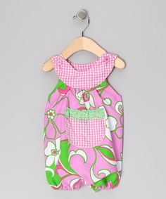 Take a look at this Light Pink & Green Hibiscus Bubble Romper - Infant by Beary Basics on #zulily today!
